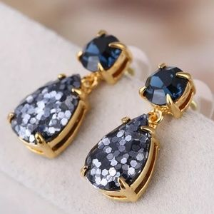 Kate Spade Navy Blue Glitter Drop Crystal Earrings